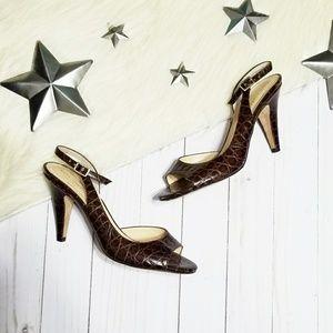 Kate Spade alligator slingback peep toe heel brown
